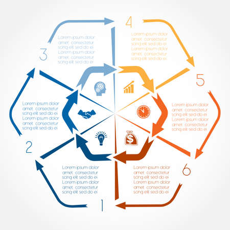 Kleur pijlen infographic voor zes posities, mogelijk om voor workflow, banner, diagram, webdesign, chronologie, vlakdiagram, nummeroptie