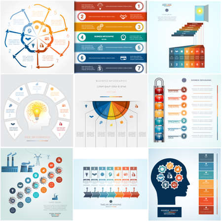 Set 9 templates Infographics business conceptual cyclic processes for seven positions text area, possible to use for workflow, banner, diagram, web design, timeline, area chart