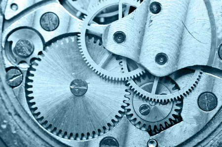 old technology: Gear wheels inside clock. Concept Teamwork , Idea Technology. Macro
