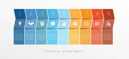 Template Conceptual Business Timeline Infographic design for nine position can be used for workflow, banner, diagram, web design, area chart Stock Illustratie