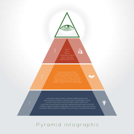 text area: Template Infographic business process colorful pyramid for three text area Illustration