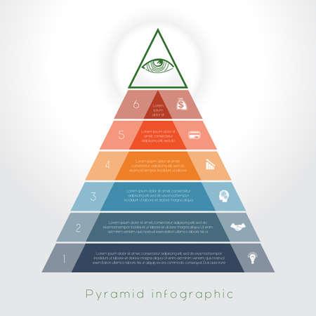 Sjabloon Infographic business process kleurrijke piramide zes tekstgedeelte