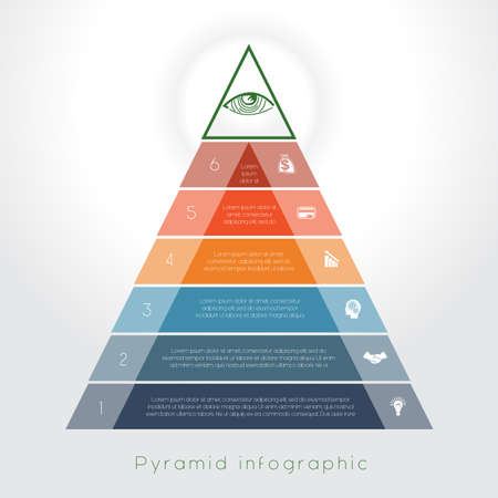 Template Infographic business process colorful pyramid for six text area
