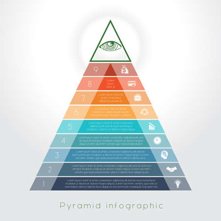 text area: Template Infographic business process colorful pyramid for nine text area Illustration