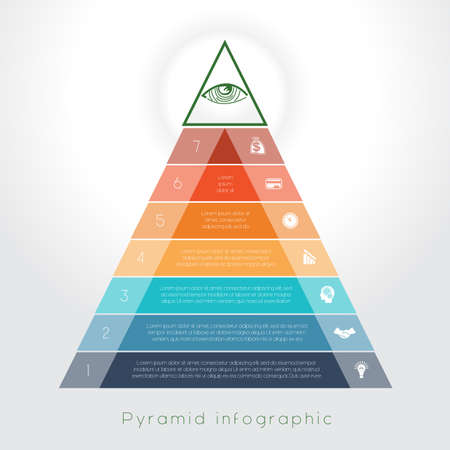 text area: Template Infographic business process colorful pyramid for seven text area