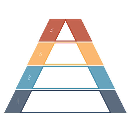 numbered: Numbered template Infographics colorful pyramid for text area four positions Stock Photo