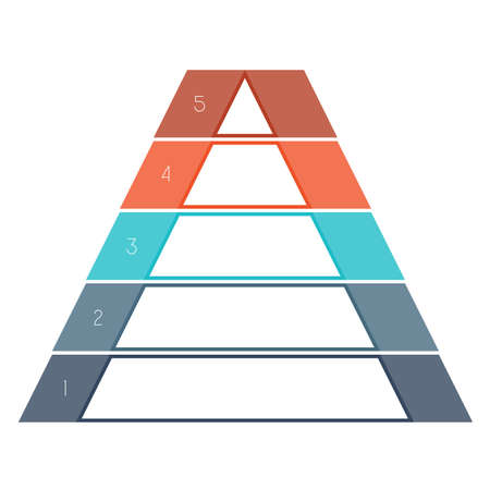 text area: Numbered template Infographics colorful pyramid for text area five positions