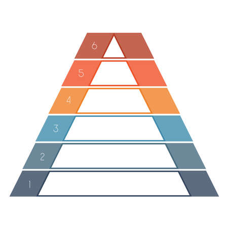 text area: Numbered template Infographics colorful pyramid for text area six positions