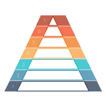 text area: Numbered template Infographics colorful pyramid for text area seven positions