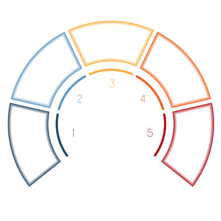 semicircle: Numbered template Infographics colorful Semicircle for five number options, steps, text areas