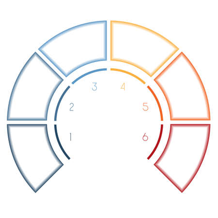 semicircle: Numbered template Infographics colorful Semicircle for six number options, steps, text areas