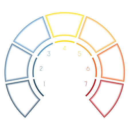 semicircle: Numbered template Infographics colorful Semicircle for seven number options, steps, text areas