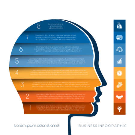 personality development: Template for infographic, head the person from colour strips, startup business concept, template for eight positions, steps, options or parts Illustration