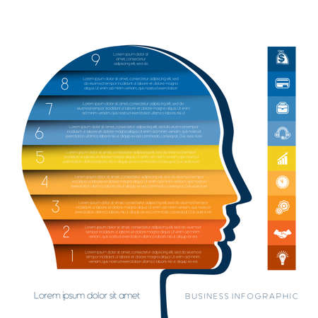personality development: Template for infographic, head the person from colour strips, startup business concept, template for nine positions, steps, options or parts Illustration