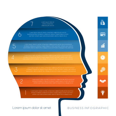 personality development: Template for infographic, head the person from colour strips, startup business concept, template for seven positions, steps, options or parts