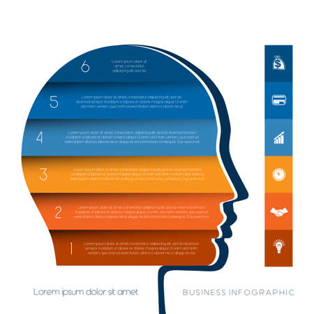personality development: Template for infographic, head the person from colour strips, startup business concept, template for six positions, steps, options or parts