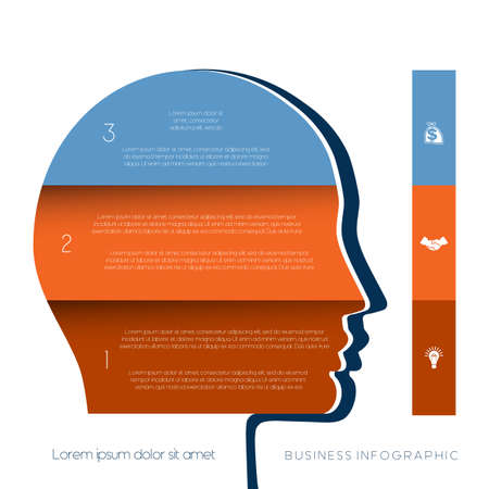 personality development: Template for infographic, head the person from colour strips, startup business concept, template for three positions, steps, options or parts Illustration