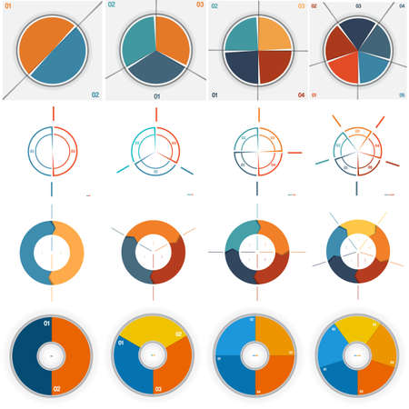 work flow: 16 numbered Templates for Infographics, pie and ring chart, with text area on two,three, four, five positions possible to use for work flow, banner, diagram, web design, business projects Illustration