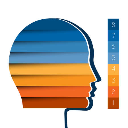 personality development: Template infographic, head the person from colour strips, startup business concept, template for eight positions, steps, options or parts Stock Photo
