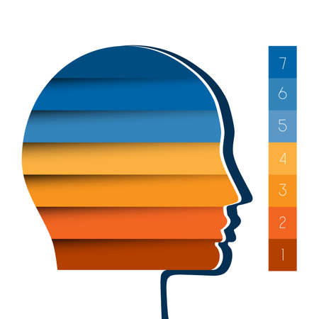 personality development: Template infographic, head the person from colour strips, startup business concept, template for seven positions, steps, options or parts
