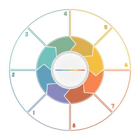 Infographic Ring van Arrows.Template cyclisch proces genummerd voor acht posities