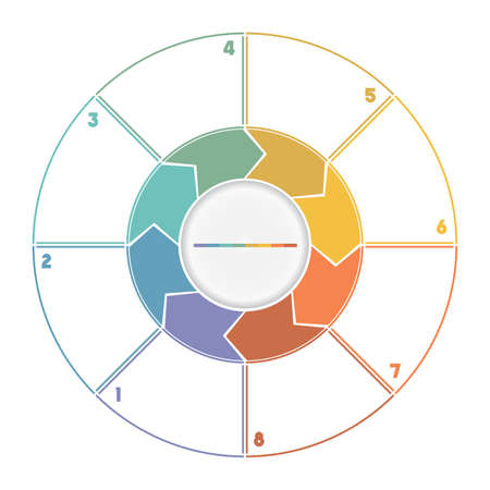 Infographic Ring from Arrows.Template cyclic process numbered for eight position Standard-Bild