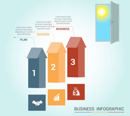 doorway: Template Conceptual infographics, arrows colored and doorway, 3 positions Illustration