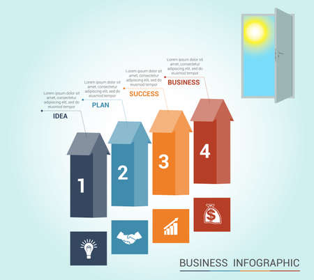 Template Conceptual infographics, arrows colored and doorway, 4 positions