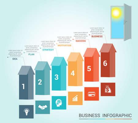 portone: infografica Template concettuale, frecce colorate e porta, 6 posizioni Vettoriali