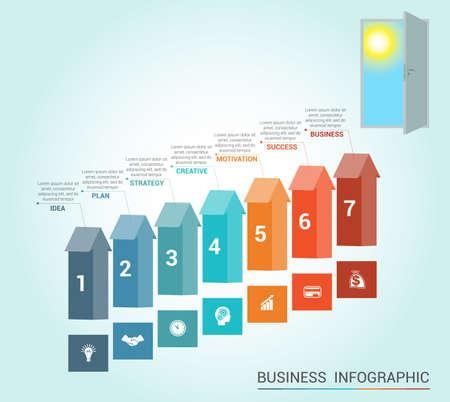 portone: infografica Template concettuale, frecce colorate e porta, 7 posizioni