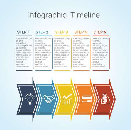 Vorlage Timeline Infografik Farbigen Horizontalen Pfeile Für Neun ...