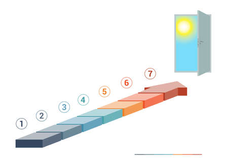 top 7: Template infographics from colored parts arrows  and doorway with sky, sun, on white background, numbered for 7 positions