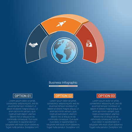 semicircle: Template infographics business concept coloured parts semicircle and globe, numbered for three positions, options, parts, or processes. 3D vector illustration.
