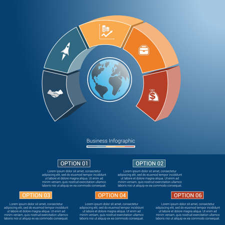 semicircle: Template infographics business concept coloured parts semicircle and globe, numbered for five positions, options, parts, or processes. 3D vector illustration.
