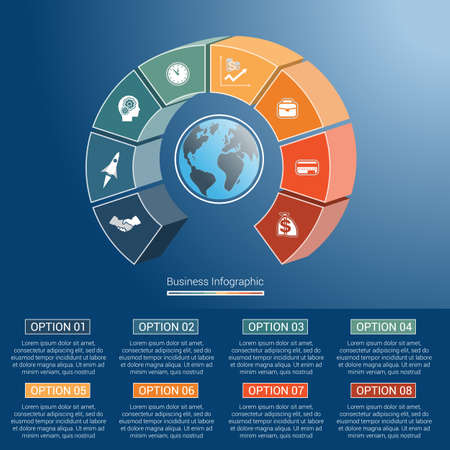 semicircle: Template infographics business concept coloured parts semicircle and globe, numbered for eight positions, options, parts, or processes. 3D vector illustration.