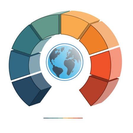 semicircle: Template for infographics coloured parts semicircle and globe, eight positions, options, parts, or processes. 3D illustration.