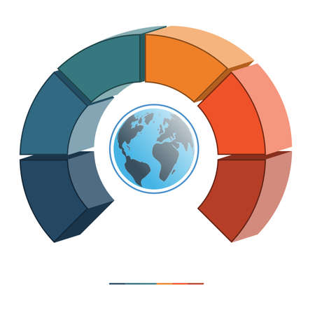 semicircle: Template infographics business concept coloured parts semicircle and globe, numbered for six positions, options, parts, or processes. 3D illustration.