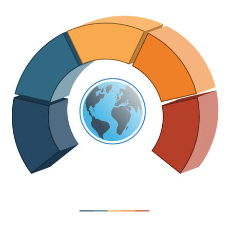 semicircle: Template for infographics coloured parts semicircle and globe, five positions, options, parts, or processes. 3D illustration.