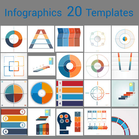 Infographics 20 Templates, text area on  four position , Can be used for workflow process, business banner, diagram, number options, work plan, web design.