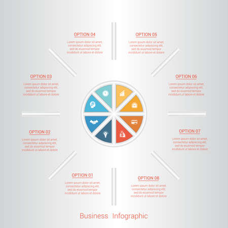 pictogramme: Pie infographic template with text areas on eight positions, parts.