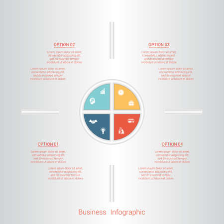 pictogramme: Pie infographic template with text areas on four positions, parts.