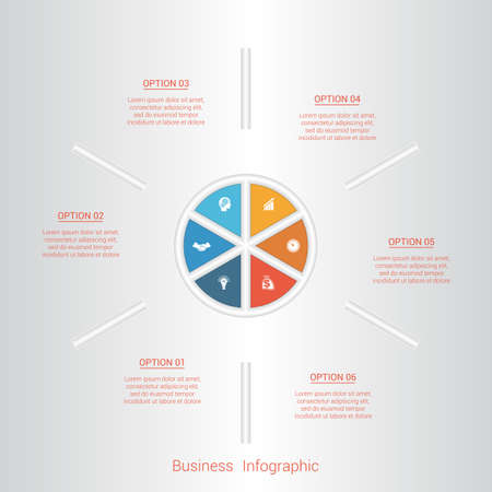 pictogramme: Pie infographic template with text areas on six positions, parts.