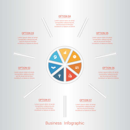 pictogramme: Pie infographic template with text areas on seven positions, parts.