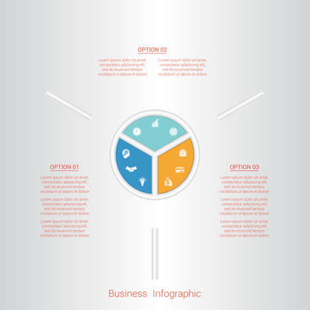 pictogramme: Pie infographic template with text areas on three positions, parts. Illustration