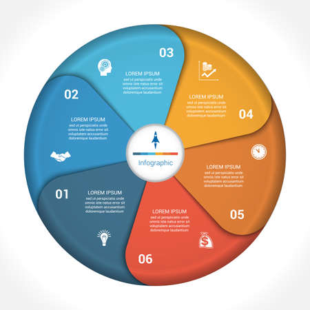 text area: Template infographic six position, steps, parts, with text area, illustration colourful in the form of flower petals. Business pie chart diagram data.