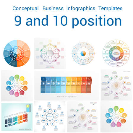 text area: Set Vector templates Infographics business conceptual cyclic processes for nine and ten positions text area, possible to use for workflow, banner, diagram, web design, timeline, area chart