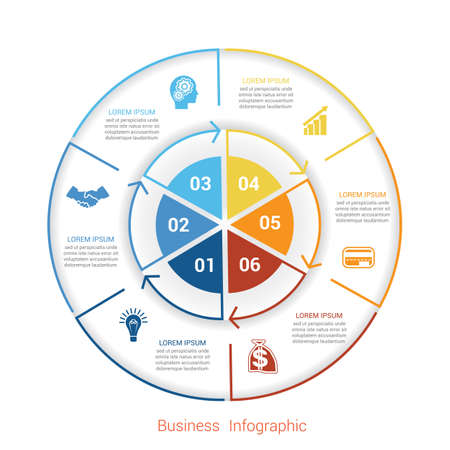 Template infographic six position, steps, parts, with text area, vector illustration colourful in the form of circle parts. Business pie chart diagram data. Illustration