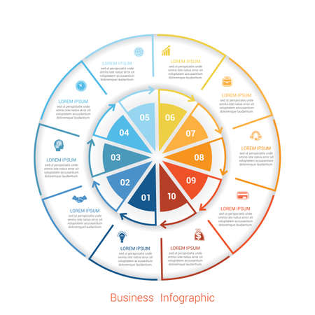 Template infographic ten position, steps, parts, with text area, vector illustration colourful in the form of circle parts. Business pie chart diagram data.
