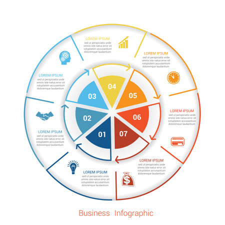 Template infographic seven position, steps, parts, with text area, vector illustration colourful in the form of circle parts. Business pie chart diagram data.