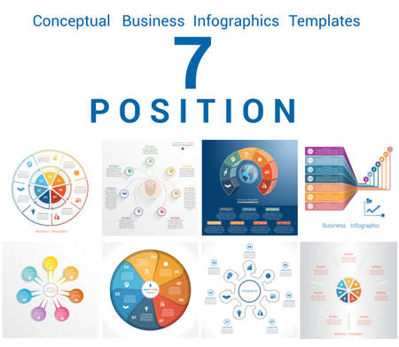 tab: Set Vector Templates Infographics Business Conceptual Cyclic Processes for Seven Positions Text Area, Possible to use for Workflow, Banner, Diagram, Web Design, Timeline, Area Chart